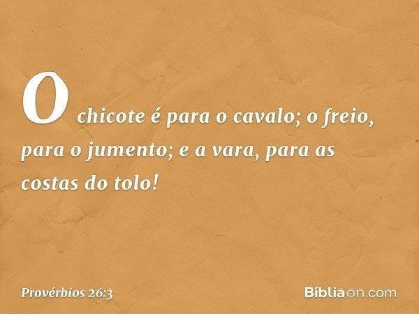 O chicote é para o cavalo; o freio, para o jumento; e a vara, para as costas do tolo! -- Provérbios 26:3