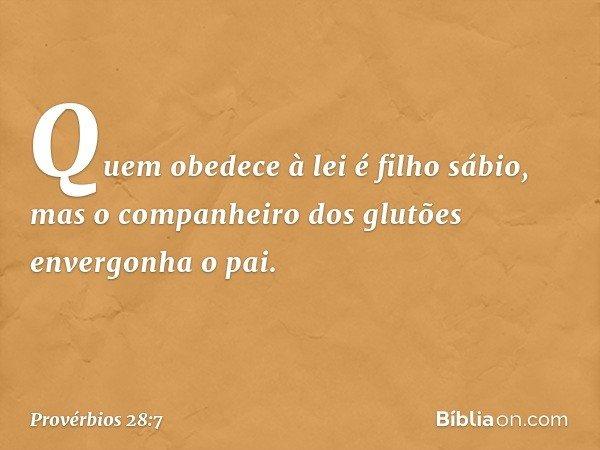 Quem obedece à lei é filho sábio, mas o companheiro dos glutões envergonha o pai. -- Provérbios 28:7