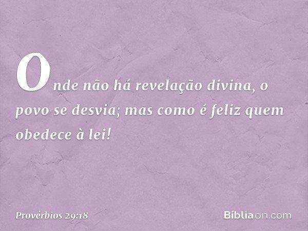 Onde não há revelação divina, o povo se desvia; mas como é feliz quem obedece à lei! -- Provérbios 29:18
