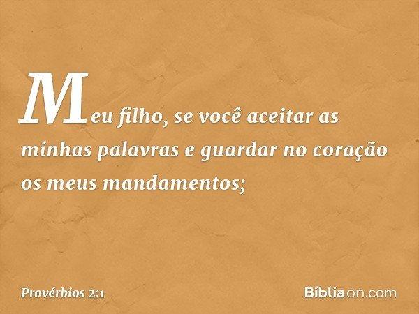 Meu filho, se você aceitar as minhas palavras e guardar no coração os meus mandamentos; -- Provérbios 2:1