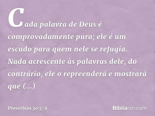 """""""Cada palavra de Deus é comprovadamente pura; ele é um escudo para quem nele se refugia. Nada acrescente às palavras dele, do contrário, ele o repreenderá e mos"""