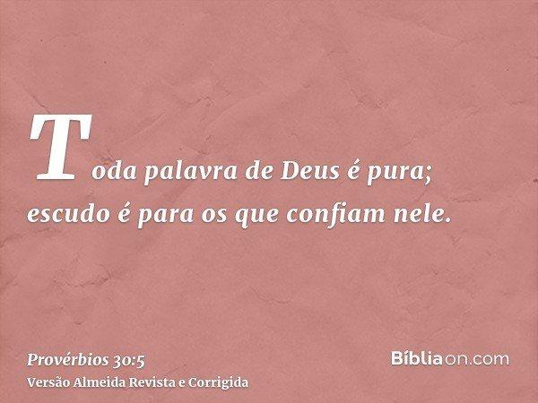 Toda palavra de Deus é pura; escudo é para os que confiam nele.