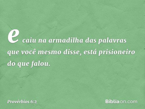 e caiu na armadilha das palavras que você mesmo disse, está prisioneiro do que falou. -- Provérbios 6:2