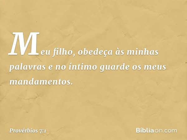 Meu filho, obedeça às minhas palavras e no íntimo guarde os meus mandamentos. -- Provérbios 7:1