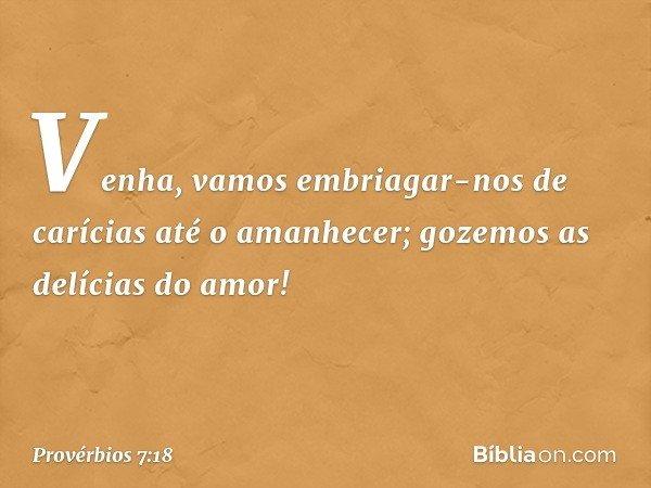 Venha, vamos embriagar-nos de carícias até o amanhecer; gozemos as delícias do amor! -- Provérbios 7:18