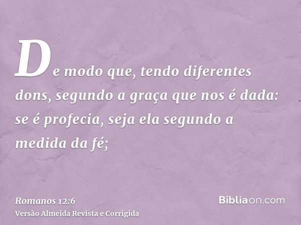 De modo que, tendo diferentes dons, segundo a graça que nos é dada: se é profecia, seja ela segundo a medida da fé;