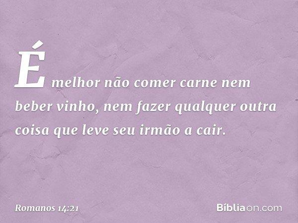 É melhor não comer carne nem beber vinho, nem fazer qualquer outra coisa que leve seu irmão a cair. -- Romanos 14:21
