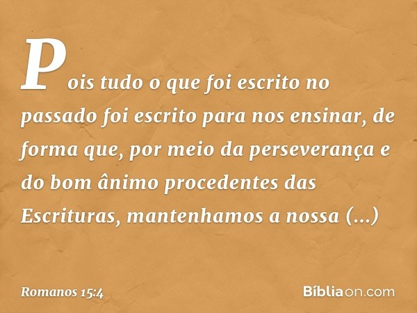 Pois tudo o que foi escrito no passado foi escrito para nos ensinar, de forma que, por meio da perseverança e do bom ânimo procedentes das Escrituras, mantenham
