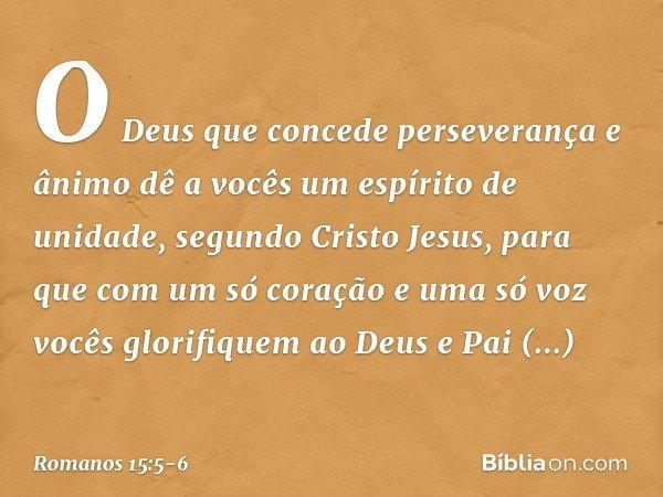 O Deus que concede perseverança e ânimo dê a vocês um espírito de unidade, segundo Cristo Jesus, para que com um só coração e uma só voz vocês glorifiquem ao De
