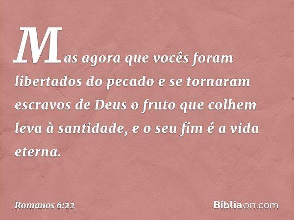 Mas agora que vocês foram libertados do pecado e se tornaram escravos de Deus o fruto que colhem leva à santidade, e o seu fim é a vida eterna. -- Romanos 6:22