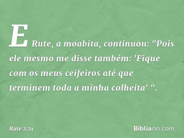 """E Rute, a moabita, continuou: """"Pois ele mesmo me disse também: 'Fique com os meus ceifeiros até que terminem toda a minha colheita' """". -- Rute 2:21"""