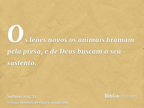Os leões novos os animais bramam pela presa, e de Deus buscam o seu sustento.