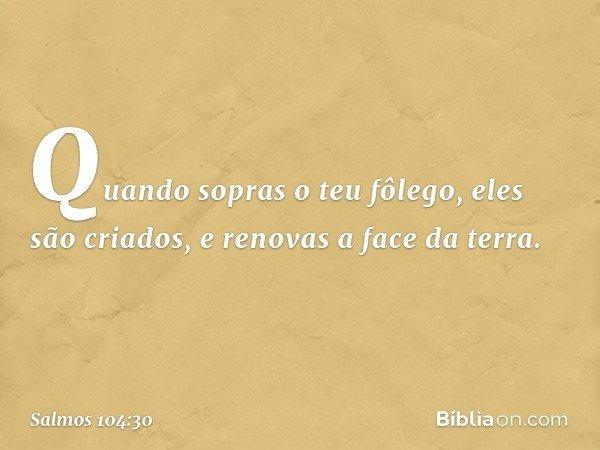 Quando sopras o teu fôlego, eles são criados, e renovas a face da terra. -- Salmo 104:30