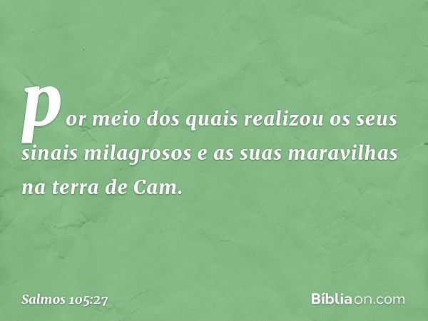 por meio dos quais realizou os seus sinais milagrosos e as suas maravilhas na terra de Cam. -- Salmo 105:27