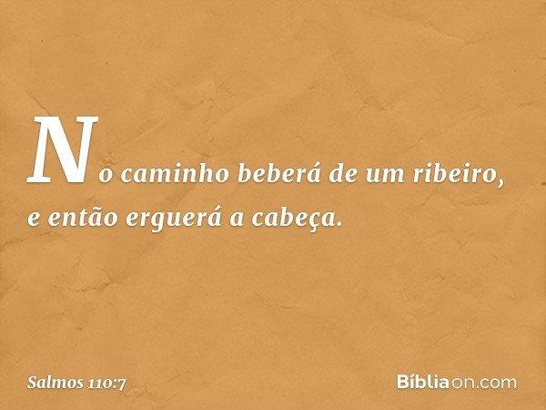 No caminho beberá de um ribeiro, e então erguerá a cabeça. -- Salmo 110:7