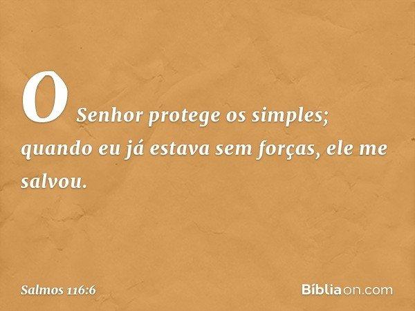 O Senhor protege os simples; quando eu já estava sem forças, ele me salvou. -- Salmo 116:6