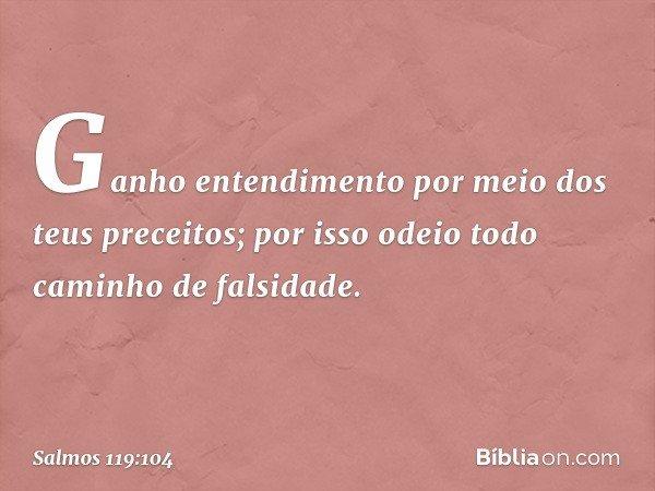 Ganho entendimento por meio dos teus preceitos; por isso odeio todo caminho de falsidade. -- Salmo 119:104
