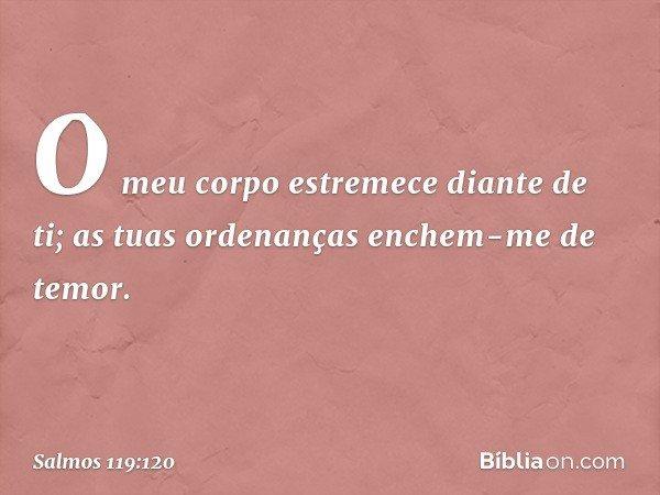 O meu corpo estremece diante de ti; as tuas ordenanças enchem-me de temor. -- Salmo 119:120