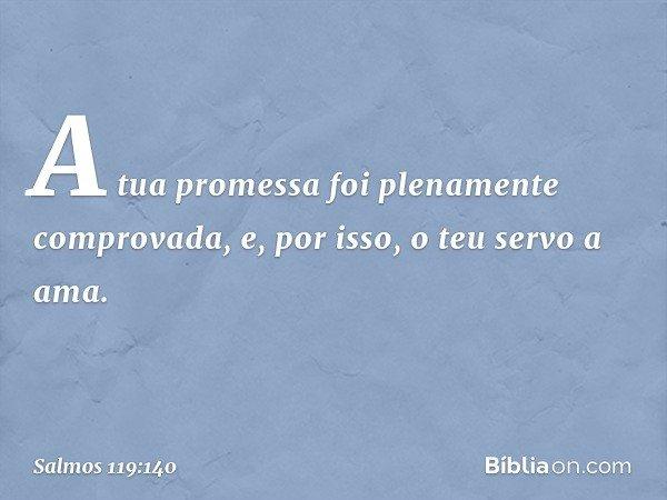 A tua promessa foi plenamente comprovada, e, por isso, o teu servo a ama. -- Salmo 119:140