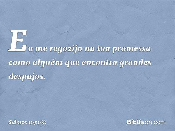 Eu me regozijo na tua promessa como alguém que encontra grandes despojos. -- Salmo 119:162
