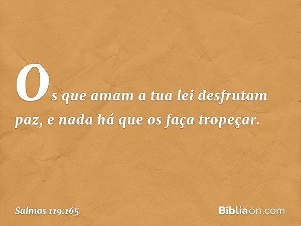 Os que amam a tua lei desfrutam paz, e nada há que os faça tropeçar. -- Salmo 119:165