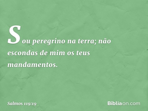 Sou peregrino na terra; não escondas de mim os teus mandamentos. -- Salmo 119:19