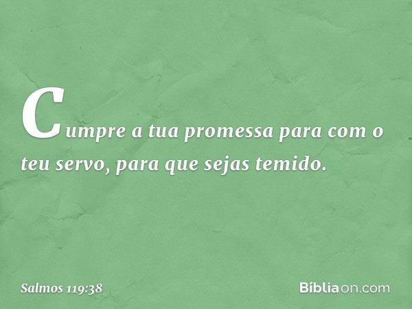 Cumpre a tua promessa para com o teu servo, para que sejas temido. -- Salmo 119:38