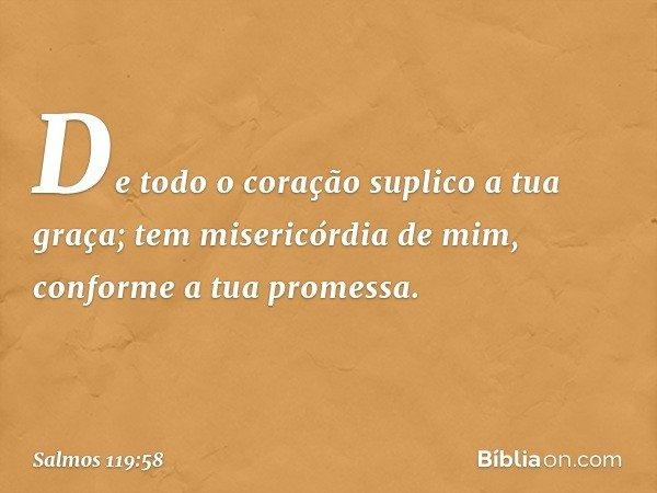 De todo o coração suplico a tua graça; tem misericórdia de mim, conforme a tua promessa. -- Salmo 119:58