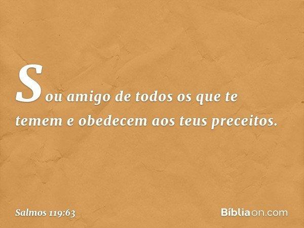 Sou amigo de todos os que te temem e obedecem aos teus preceitos. -- Salmo 119:63
