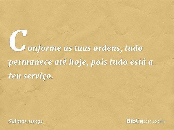 Conforme as tuas ordens, tudo permanece até hoje, pois tudo está a teu serviço. -- Salmo 119:91