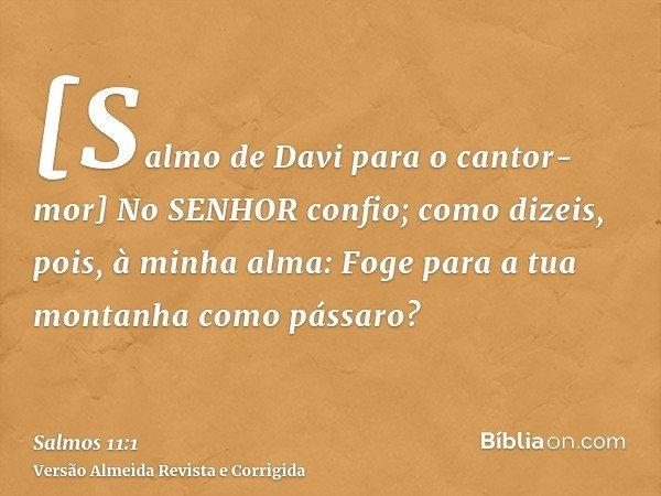[Salmo de Davi para o cantor-mor] No SENHOR confio; como dizeis, pois, à minha alma: Foge para a tua montanha como pássaro?