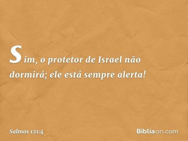 sim, o protetor de Israel não dormirá; ele está sempre alerta! -- Salmo 121:4