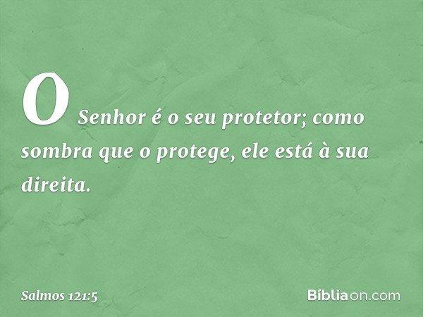 O Senhor é o seu protetor; como sombra que o protege, ele está à sua direita. -- Salmo 121:5