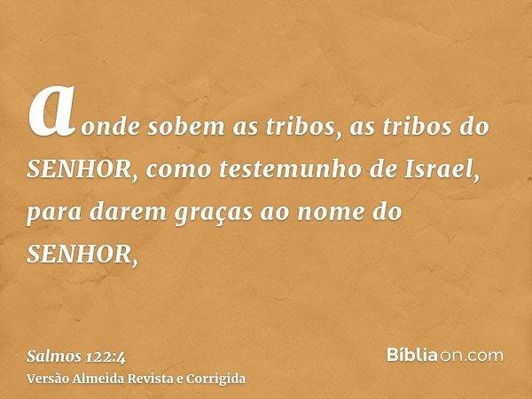 aonde sobem as tribos, as tribos do SENHOR, como testemunho de Israel, para darem graças ao nome do SENHOR,