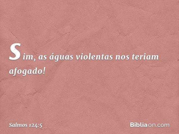 sim, as águas violentas nos teriam afogado! -- Salmo 124:5
