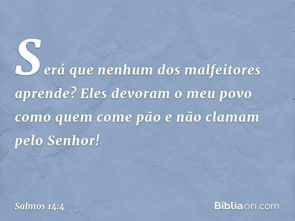 Será que nenhum dos malfeitores aprende? Eles devoram o meu povo como quem come pão e não clamam pelo Senhor! -- Salmo 14:4