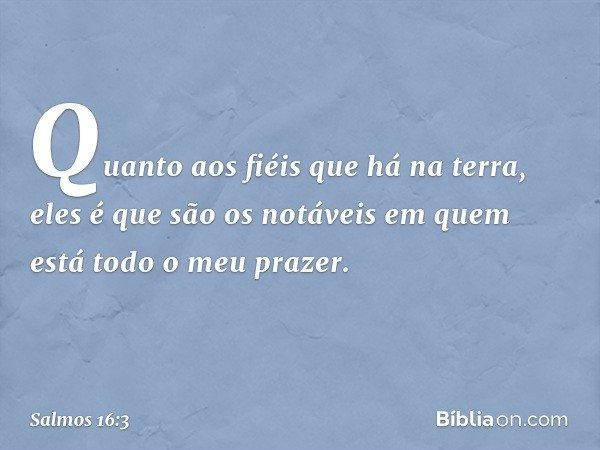 Quanto aos fiéis que há na terra, eles é que são os notáveis em quem está todo o meu prazer. -- Salmo 16:3