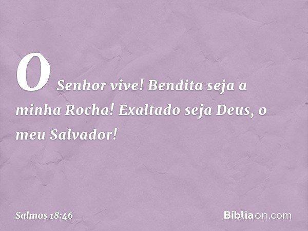 O Senhor vive! Bendita seja a minha Rocha! Exaltado seja Deus, o meu Salvador! -- Salmo 18:46