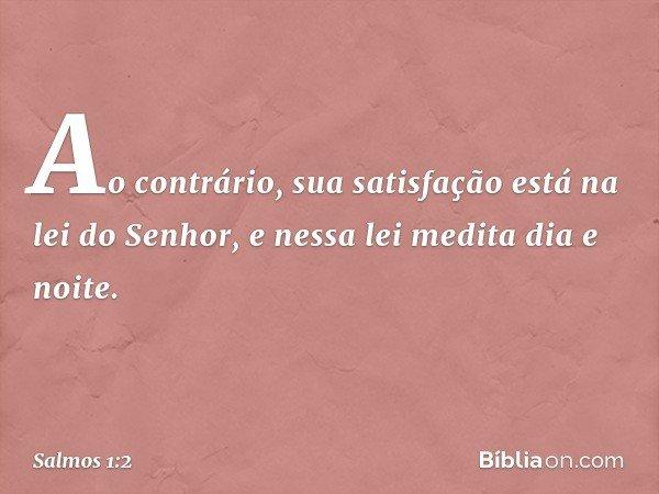 Ao contrário, sua satisfação está na lei do Senhor, e nessa lei medita dia e noite. -- Salmo 1:2