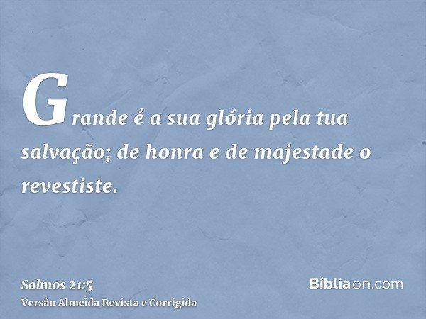 Grande é a sua glória pela tua salvação; de honra e de majestade o revestiste.