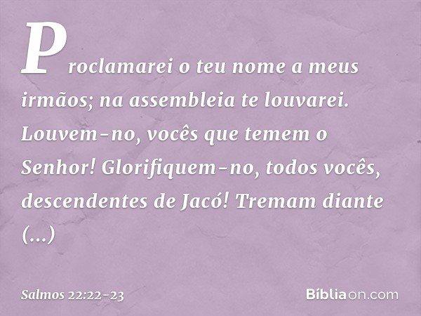 Proclamarei o teu nome a meus irmãos; na assembleia te louvarei. Louvem-no, vocês que temem o Senhor! Glorifiquem-no, todos vocês, descendentes de Jacó! Tremam
