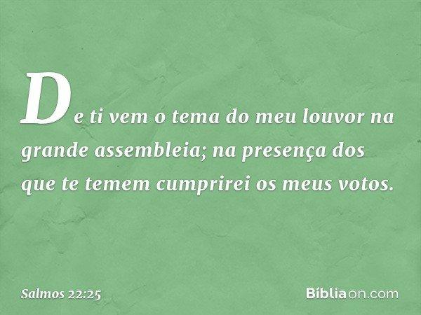 De ti vem o tema do meu louvor na grande assembleia; na presença dos que te temem cumprirei os meus votos. -- Salmo 22:25