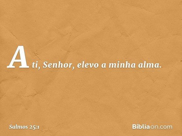 A ti, Senhor, elevo a minha alma. -- Salmo 25:1