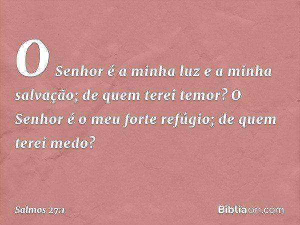 O Senhor é a minha luz e a minha salvação; de quem terei temor? O Senhor é o meu forte refúgio; de quem terei medo? -- Salmo 27:1