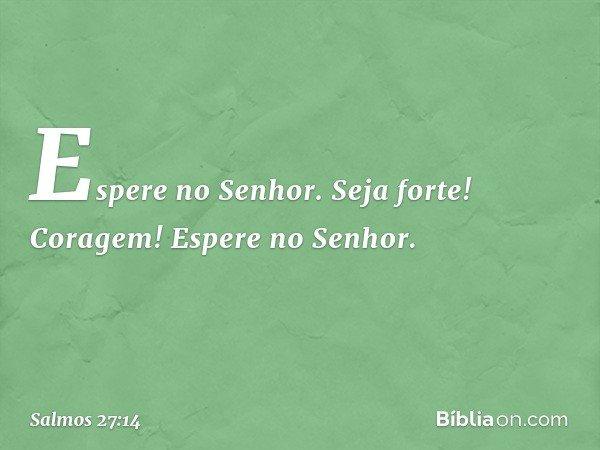 Espere no Senhor. Seja forte! Coragem! Espere no Senhor. -- Salmo 27:14
