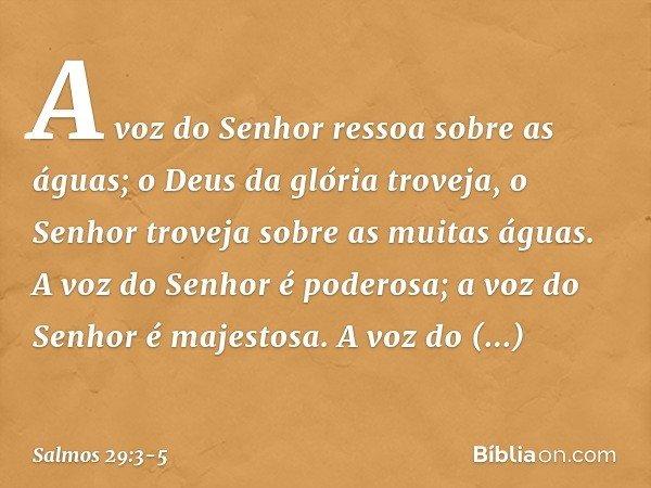 A voz do Senhor ressoa sobre as águas; o Deus da glória troveja, o Senhor troveja sobre as muitas águas. A voz do Senhor é poderosa; a voz do Senhor é majestosa