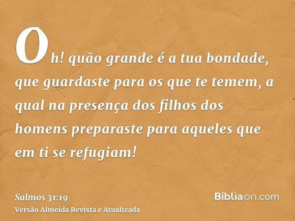 Oh! quão grande é a tua bondade, que guardaste para os que te temem, a qual na presença dos filhos dos homens preparaste para aqueles que em ti se refugiam!