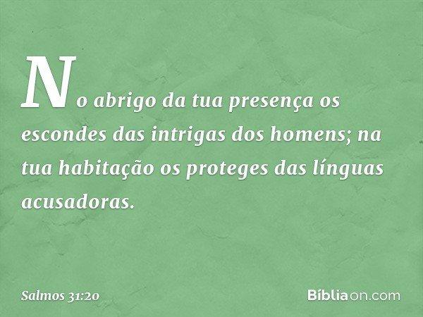 No abrigo da tua presença os escondes das intrigas dos homens; na tua habitação os proteges das línguas acusadoras. -- Salmo 31:20