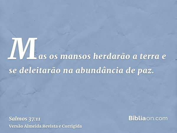 Mas os mansos herdarão a terra e se deleitarão na abundância de paz.