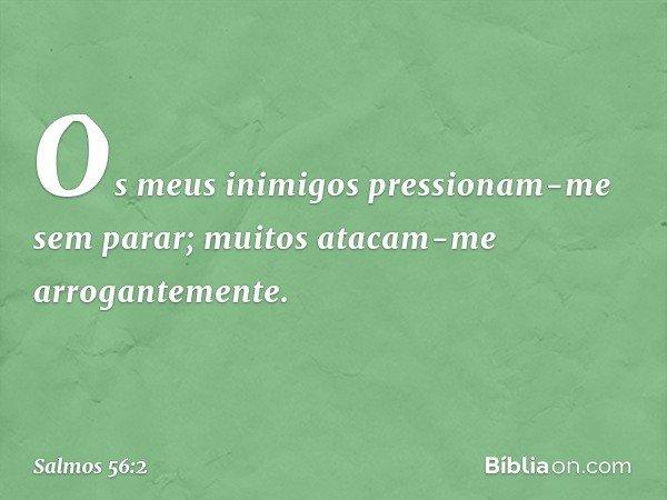 Os meus inimigos pressionam-me sem parar; muitos atacam-me arrogantemente. -- Salmo 56:2